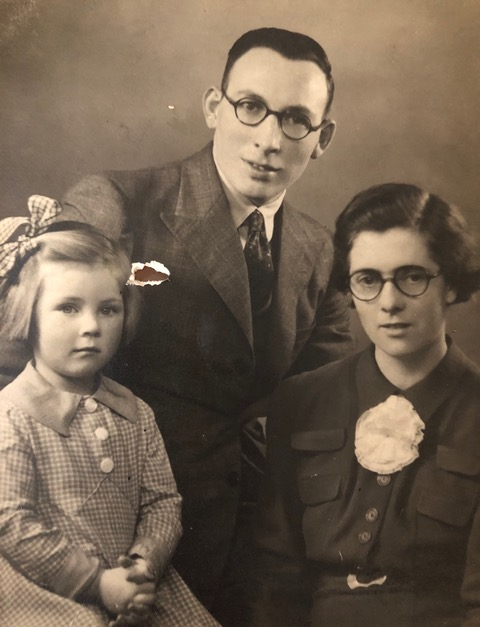 Toni with her father, Frank, and mother, Dorothy, taken just before Frank departed with The Royal Ulster Rifles