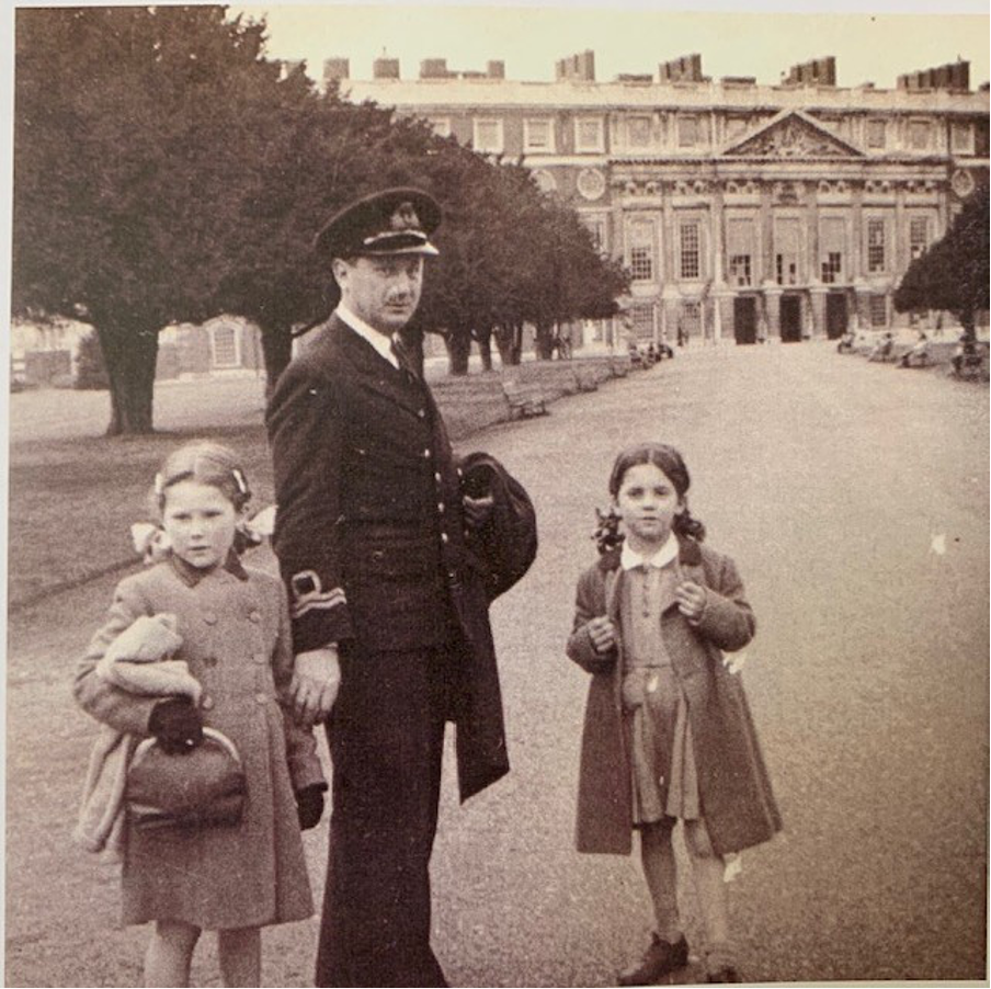 Theodore pictured with daughters Anthea (left) and Penelope (right). Taken on a trip to Hampton Court in April 1944, his last period of leave before D-Day.