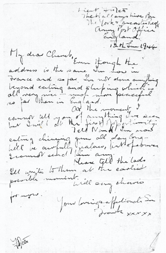 Original last letter home from Frank