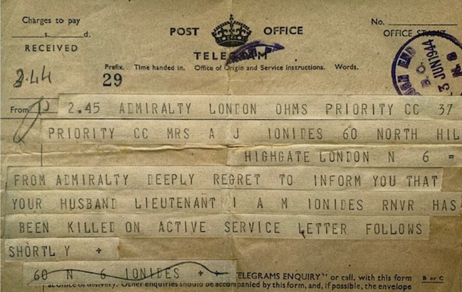 The telegram to confirm the death of Theodore