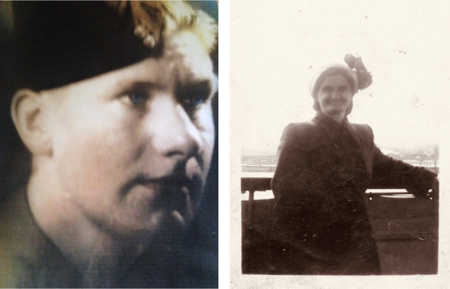 Alan Radford in uniform close-up and his mother, Mary