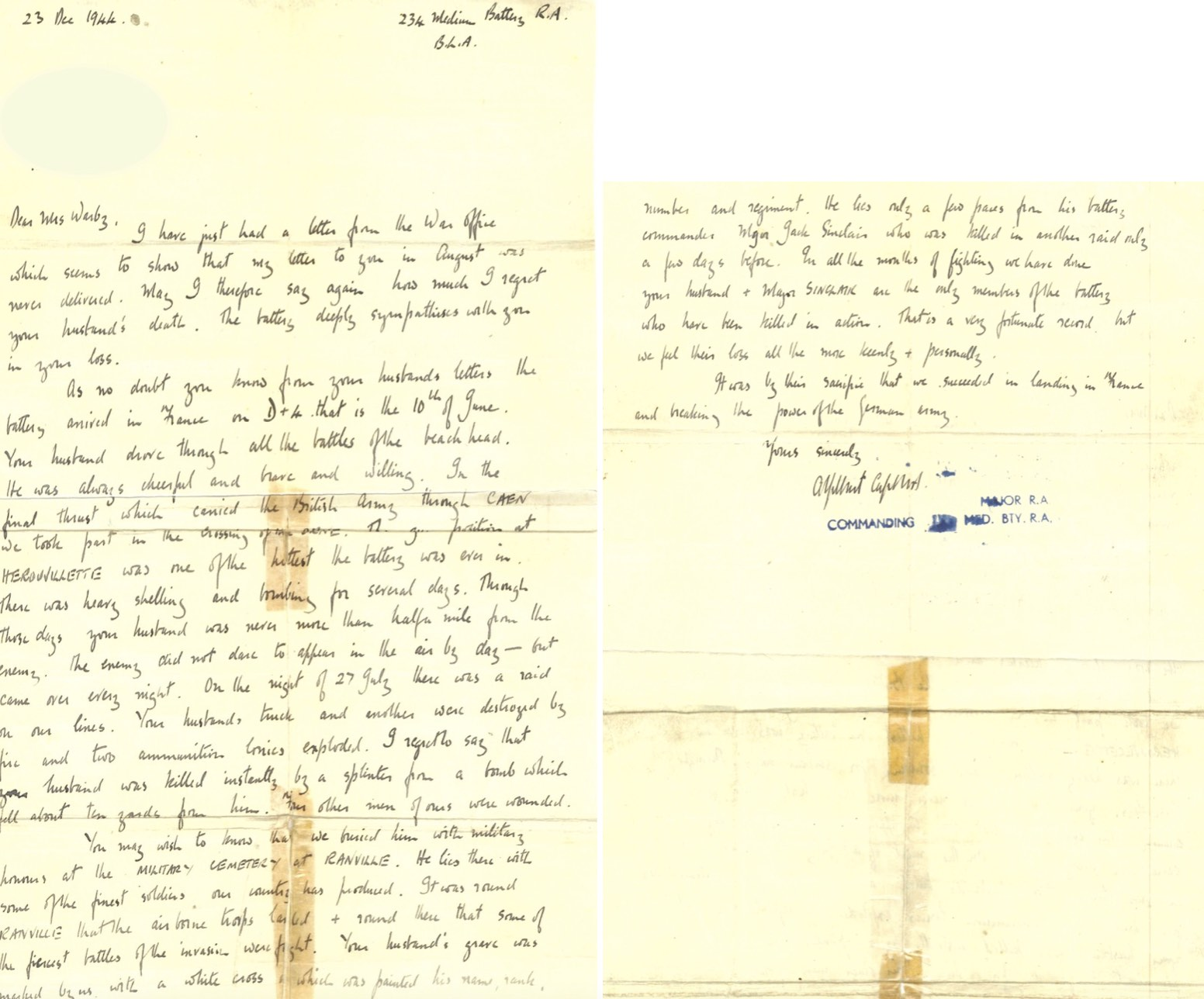 The original letter written to Thomas' mother by the Major