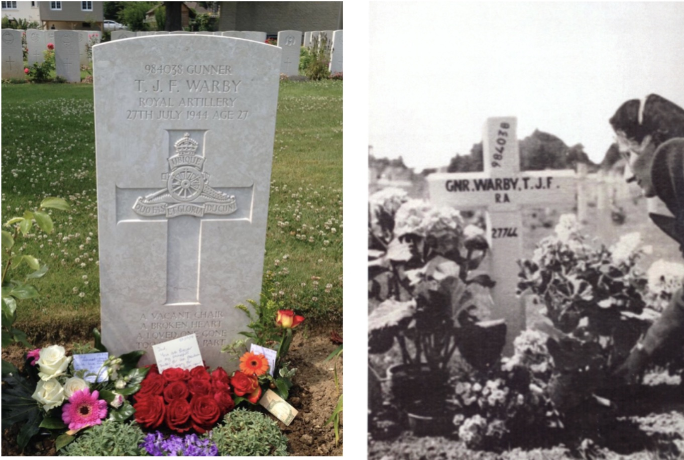 Two pictures - Thomas' gravestone and Thomas' mother visiting the grave
