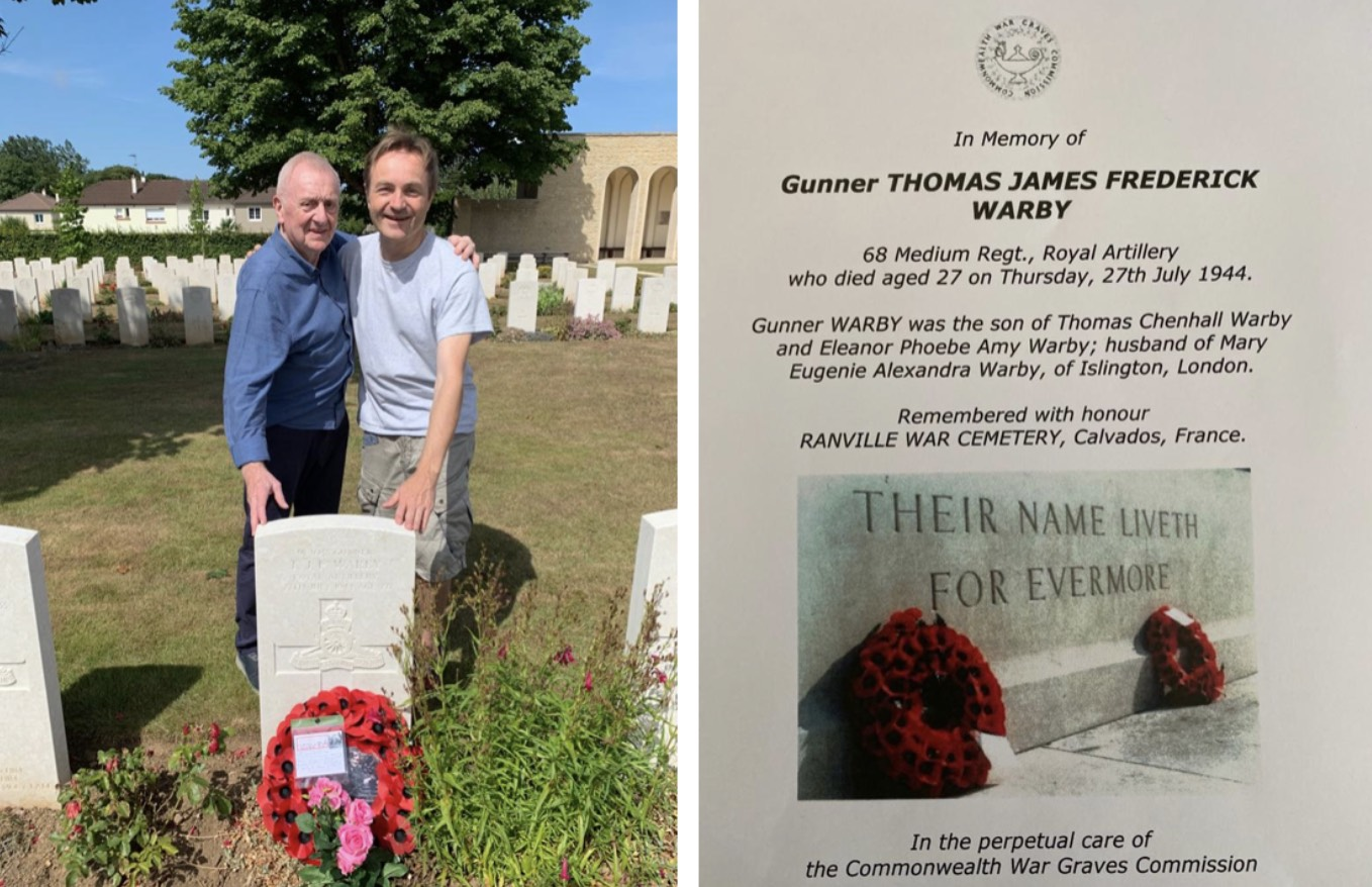 At my father's grave with William on the 75th anniversary of his death on 27 July 2019. William lives close to Ranville cemetery and we have become good friends over the many years of visiting. William and his family kindly care for my Dad's place of rest. On the right is my father's 'in memory' page from the Commonwealth War Graves Commission.