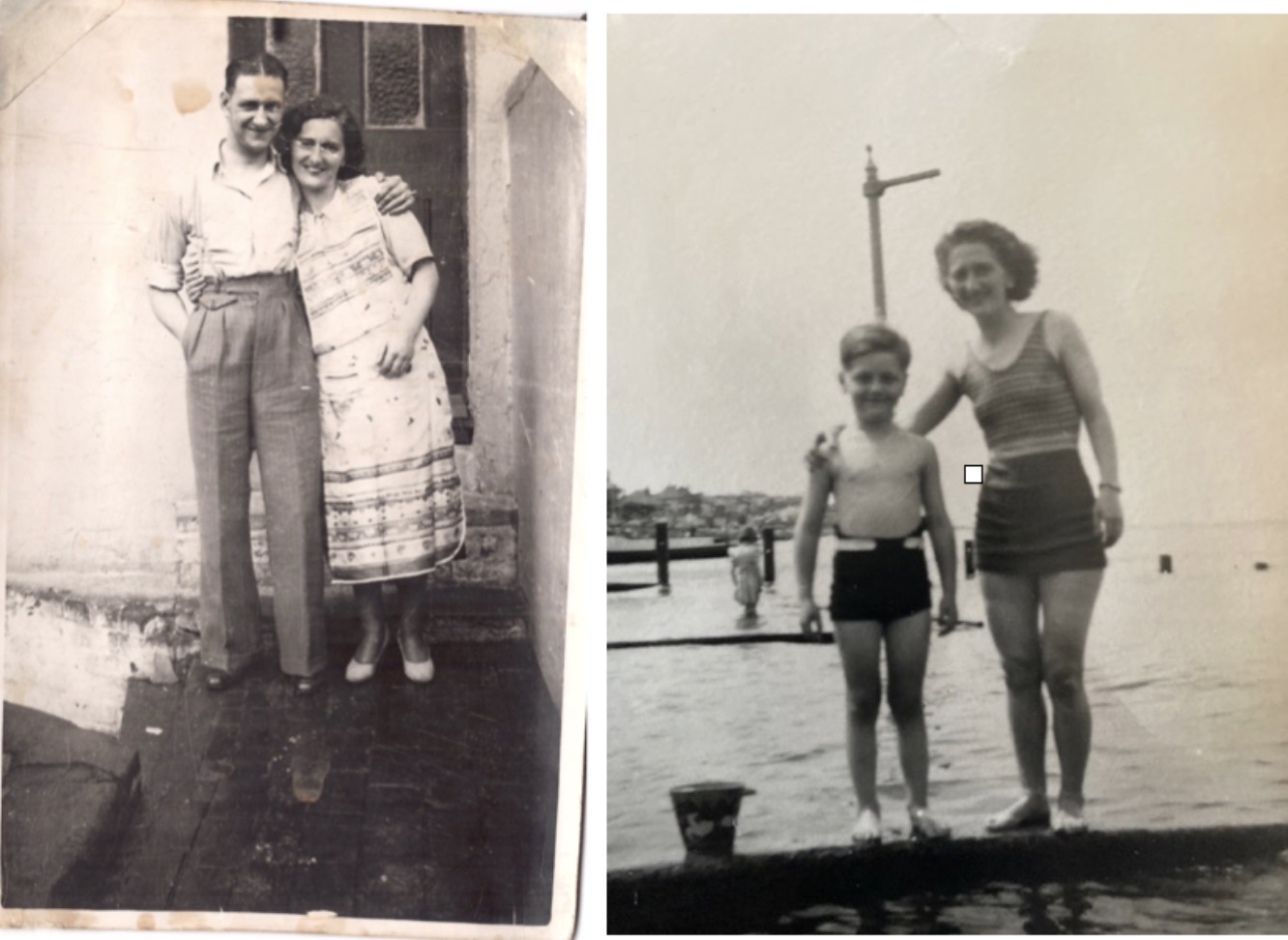 My parents at home in Islington, London in 1942 and Mum and I on the beach in 1949, aged 6.