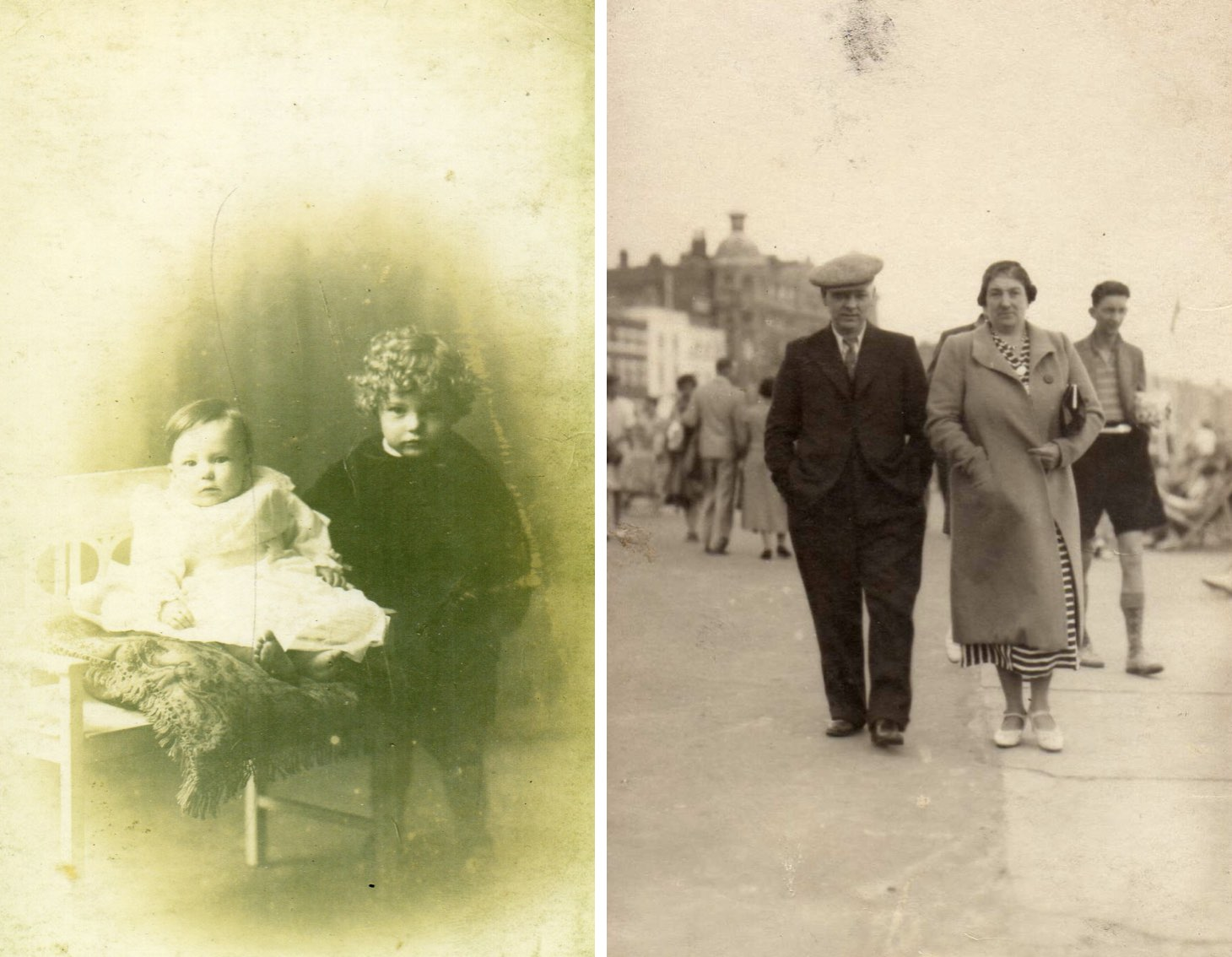 Two pictures - Ted and Ernest Fogg, pictured as young children, and Ernest's parents.
