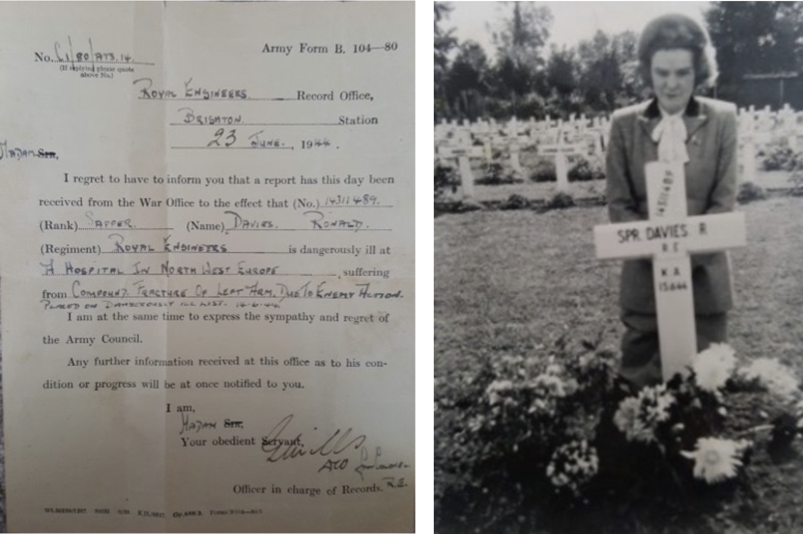 Two pictures - notice from War Office to inform that Ronald is gravely ill, and Ronald's wife Alice visiting Ronald's grave.