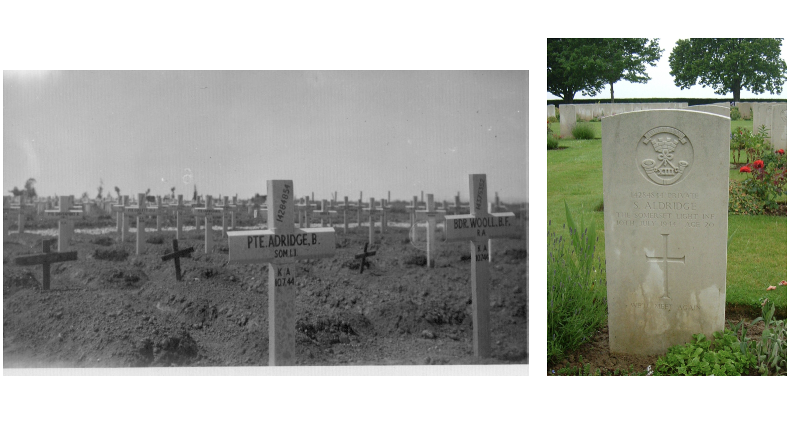Archive image of Sydney's grave from 1940s, and modern day gravestone