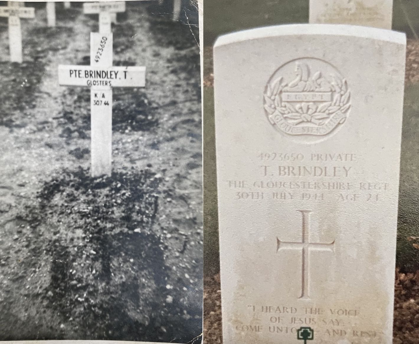 Two pictures - archive of temporary grave marking with cross and modern day gravestone