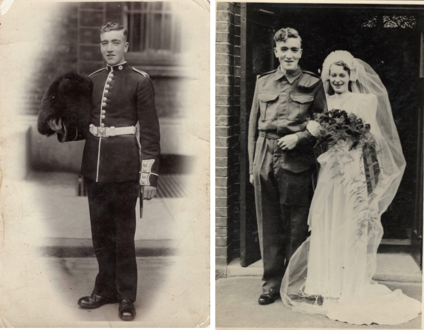 David as Guardsman in 1938 or 1939 and the day of his wedding to Mary. David is in military uniform and Mary in a traditional wedding dress.