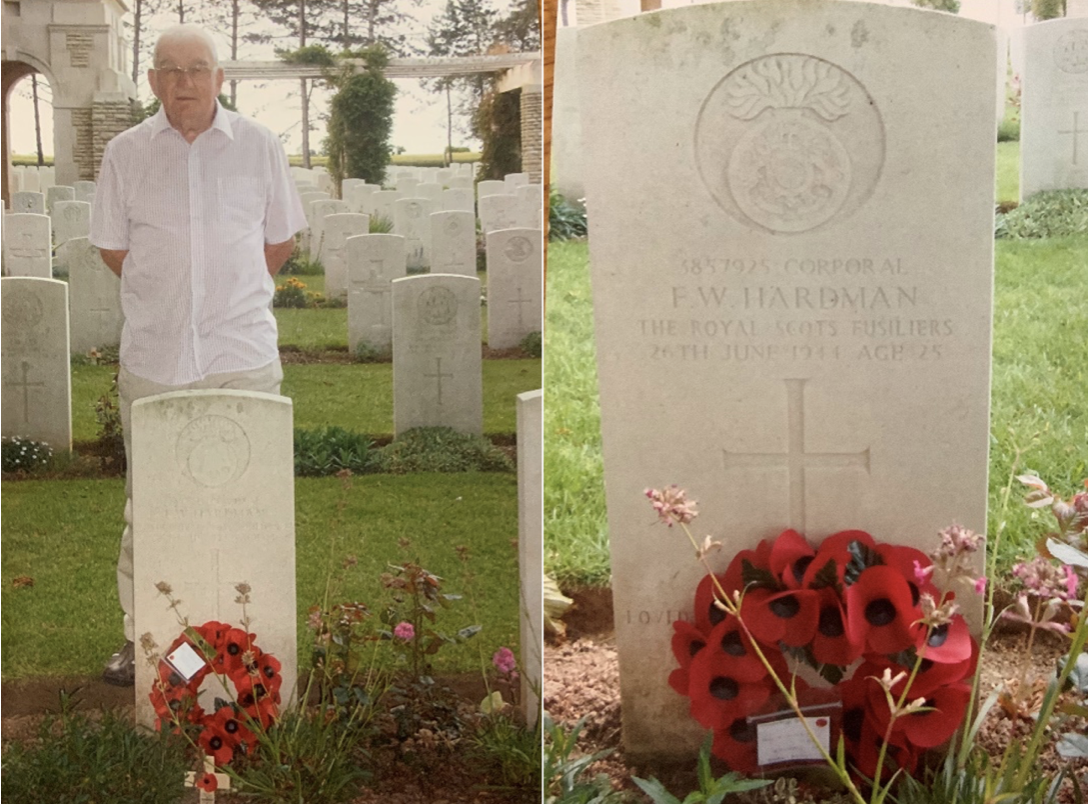 Son Fred standing behind the grave stone of his father with a poppy wreath in front of the grave stone. And close up of grave stone with wreath.