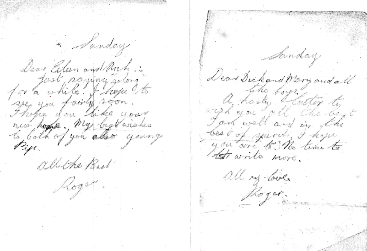Photocopies of two letters written by Geoffrey before he died on D-Day