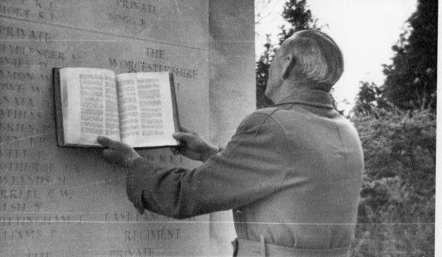 Ted Fogg visiting Bayeux Cemetery and seeing his brother Ernest's name on the memorial
