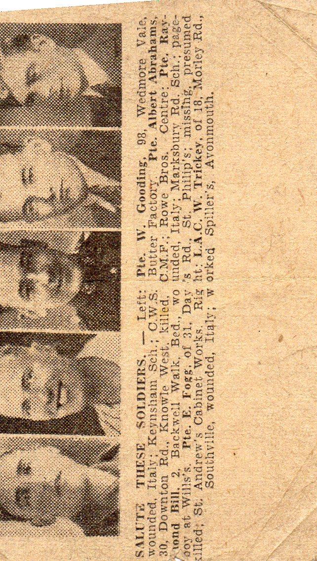 Newspaper obituary of Ernest Fogg