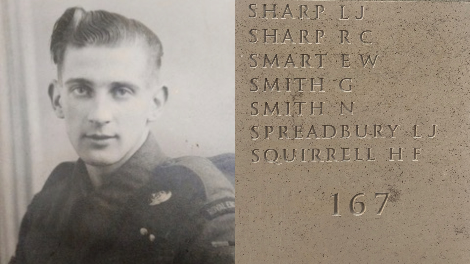 Pictures of Leonard and his name engraved on Memorial stone column