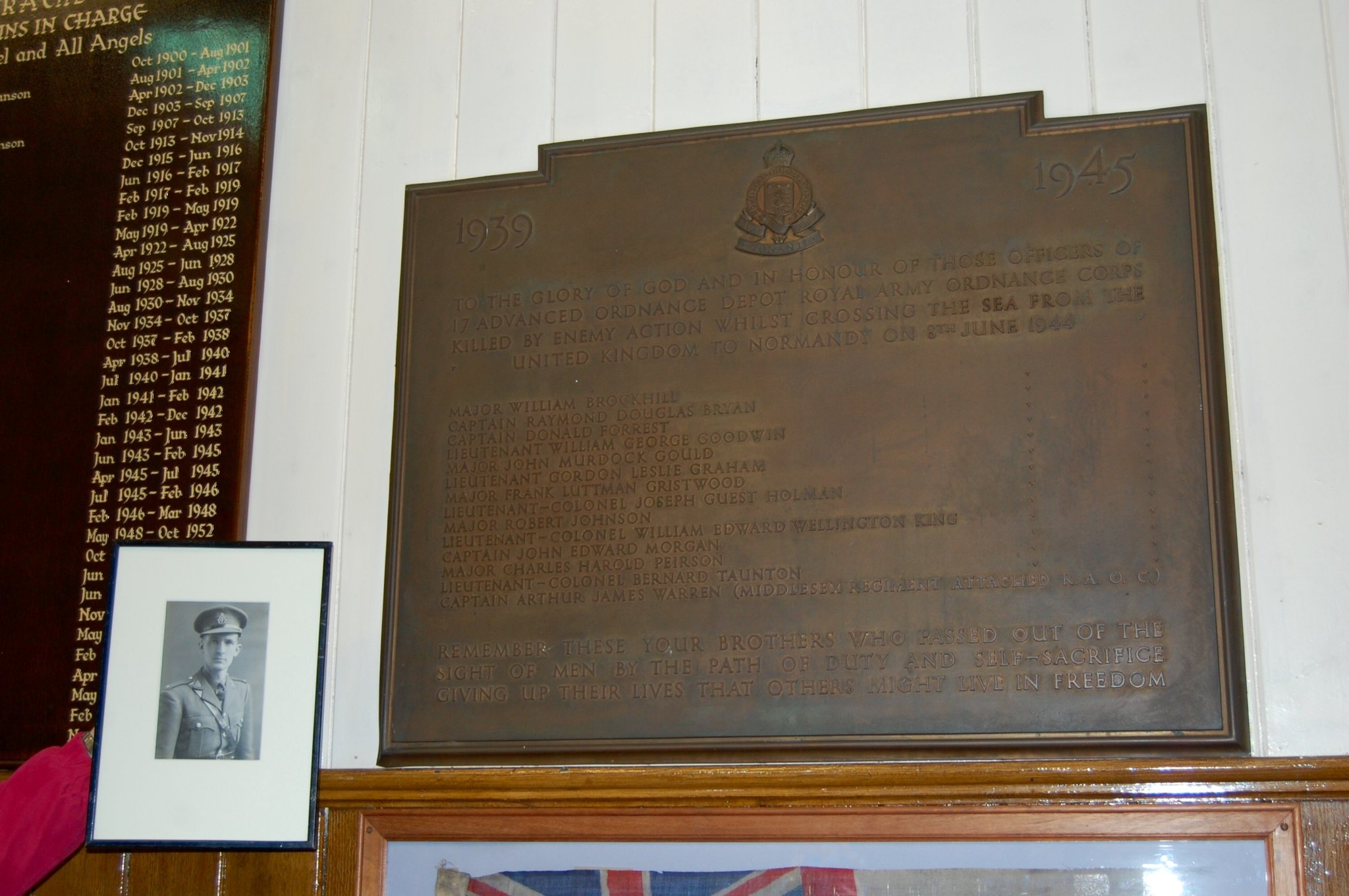 Donald's name engraved on plaque in St Barbara's Garrison Church in Deepcut