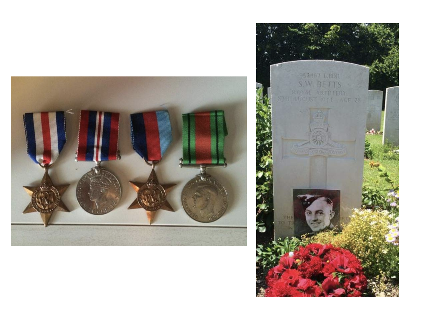 Two pictures - on left, 4 war medals and on right, Stanley's grave stone with red flowers and his photo in front of the headstone