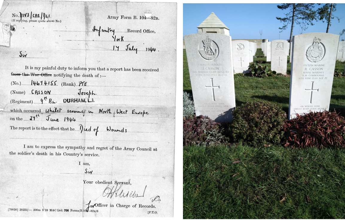 image to left - notice of death from war office - image to right - gravestones of the two brothers side by side